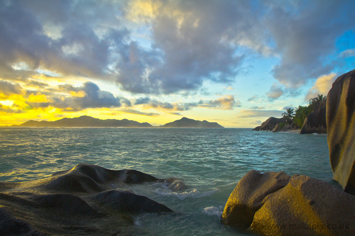 Sunset at Anse Source d\'Argent, La Digue, Seychelles