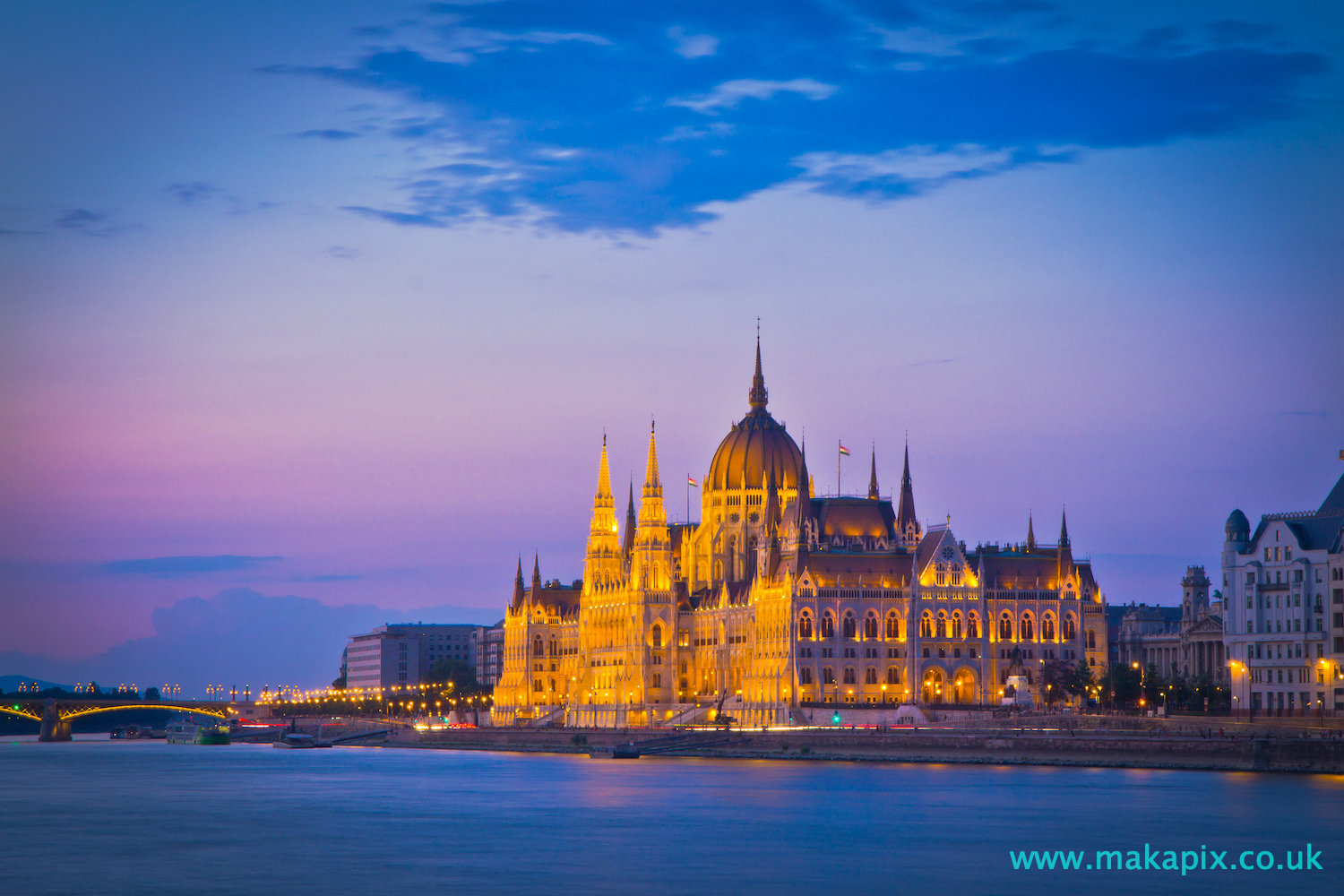 The Budapest Parliament Building at sunset