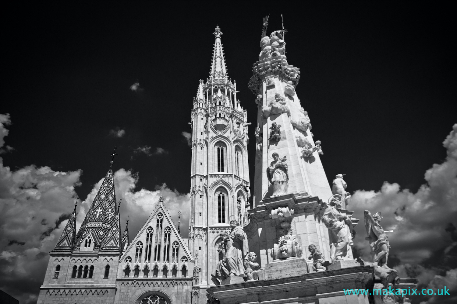 Matthias Church, Budapest in black and white
