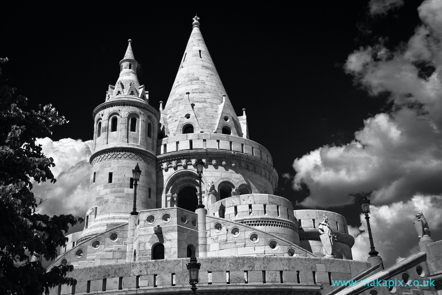 Fisherman\'s Bastion, Budapest in black and white