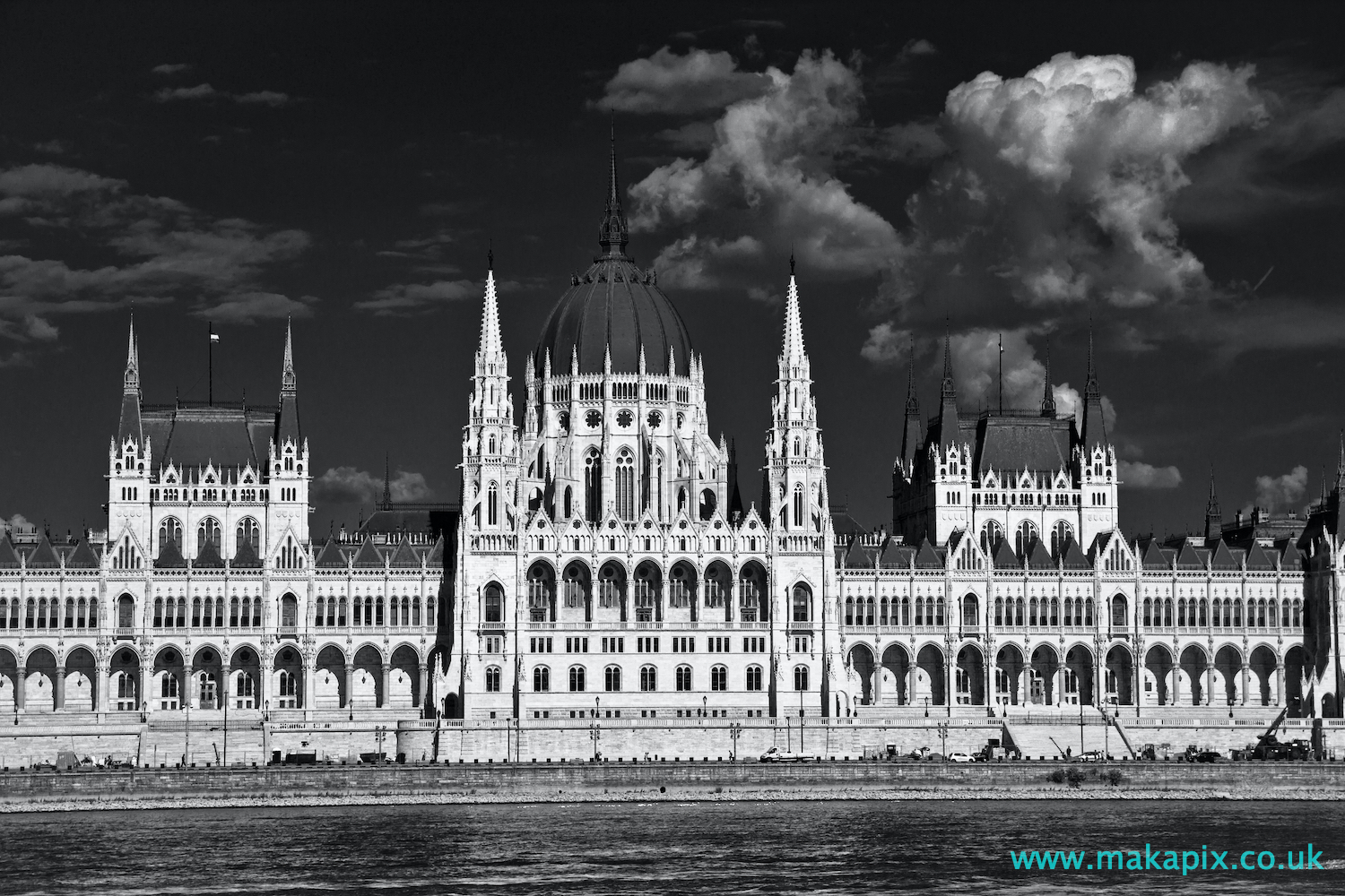 The Budapest Parliament Building in black and white