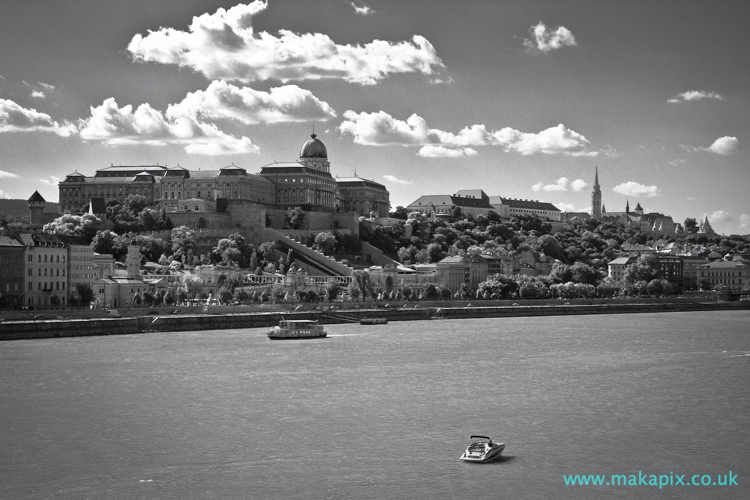 Budapest Castle in black and white