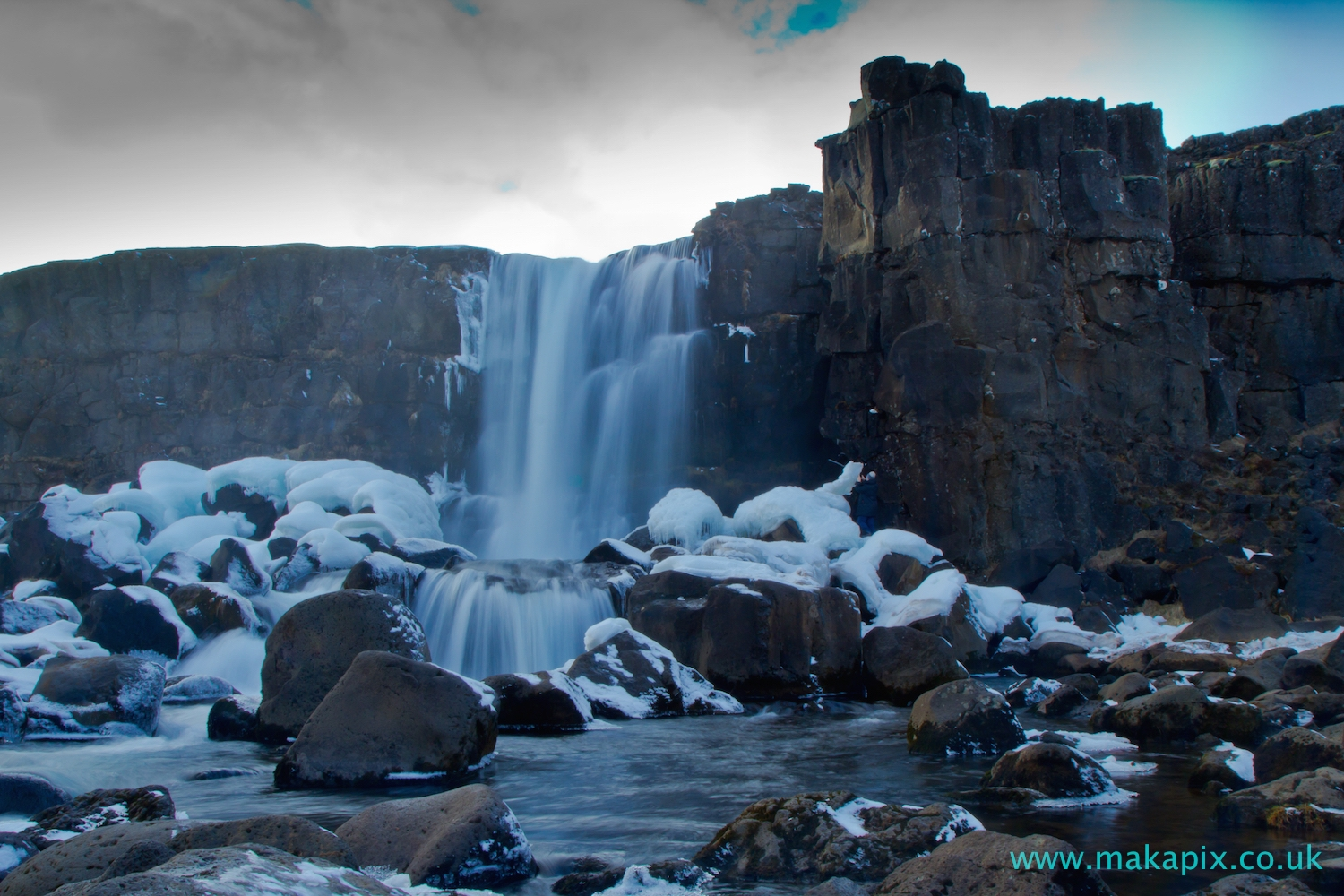 Öxarárfoss icy waterfall, Iceland
