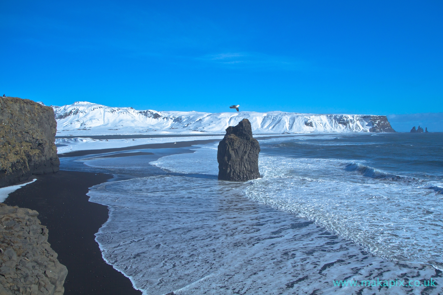 Reynisfjara beach in winter, Iceland