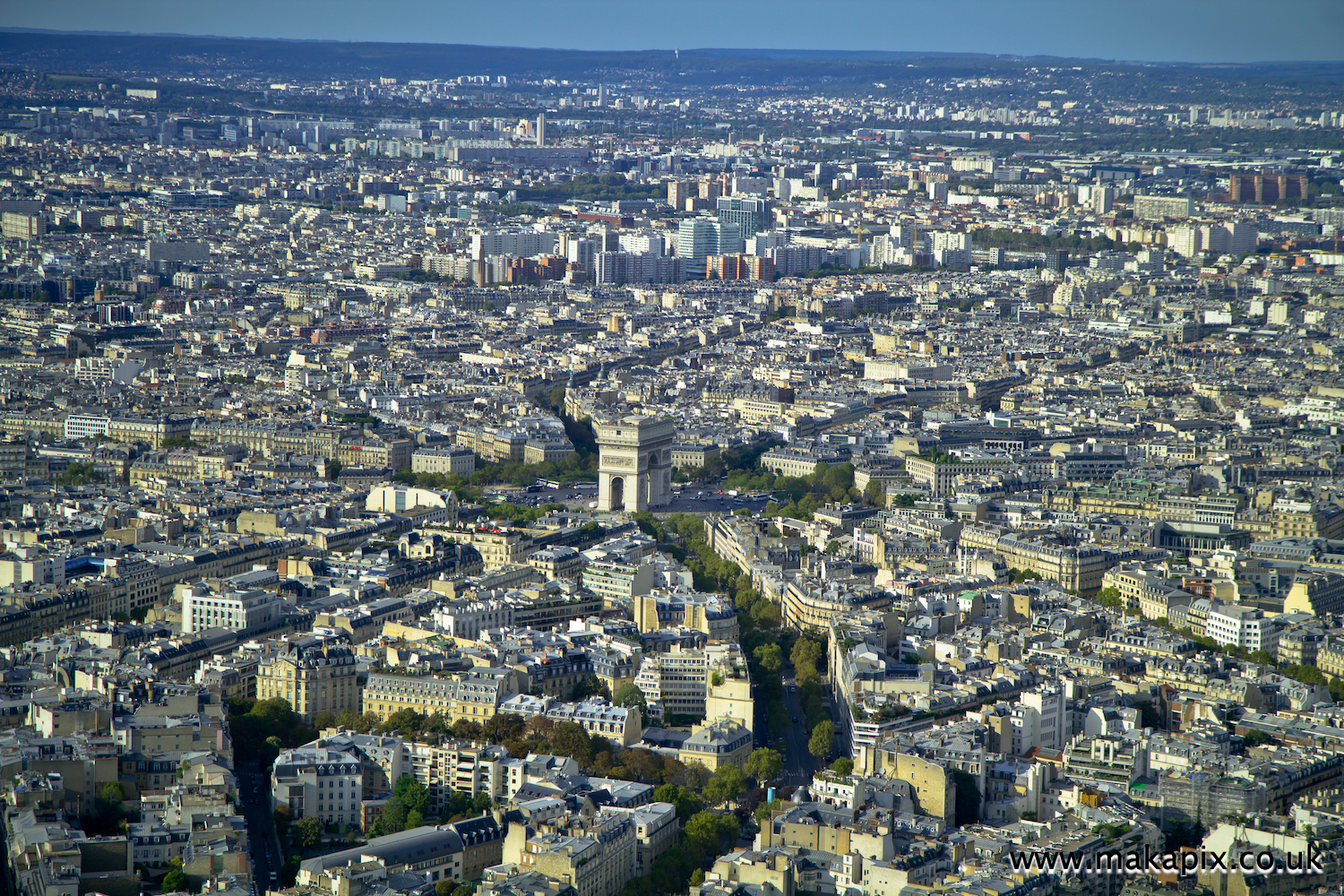 Aerial view of Paris skyline