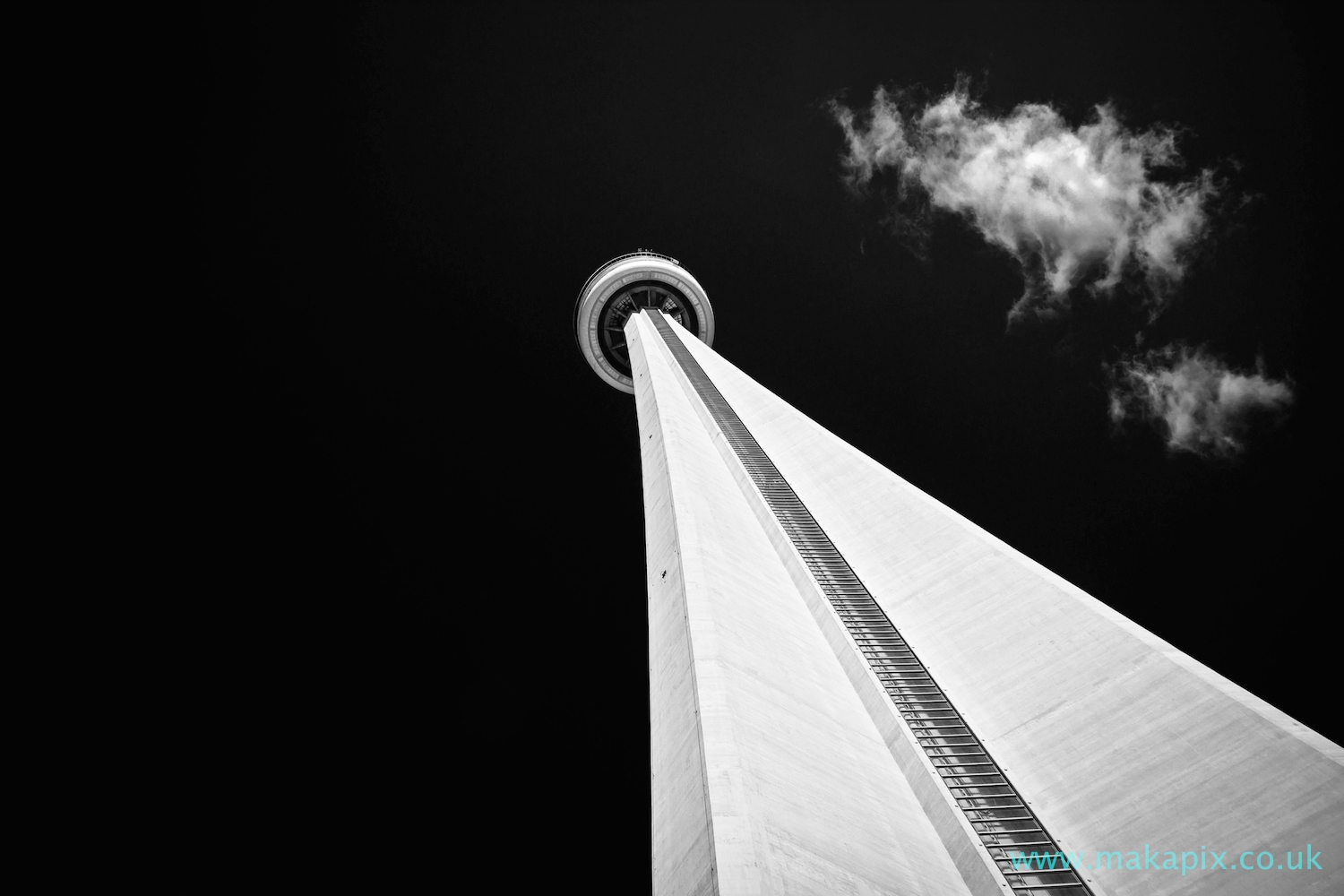 Toronto CN Tower in black and white, Canada
