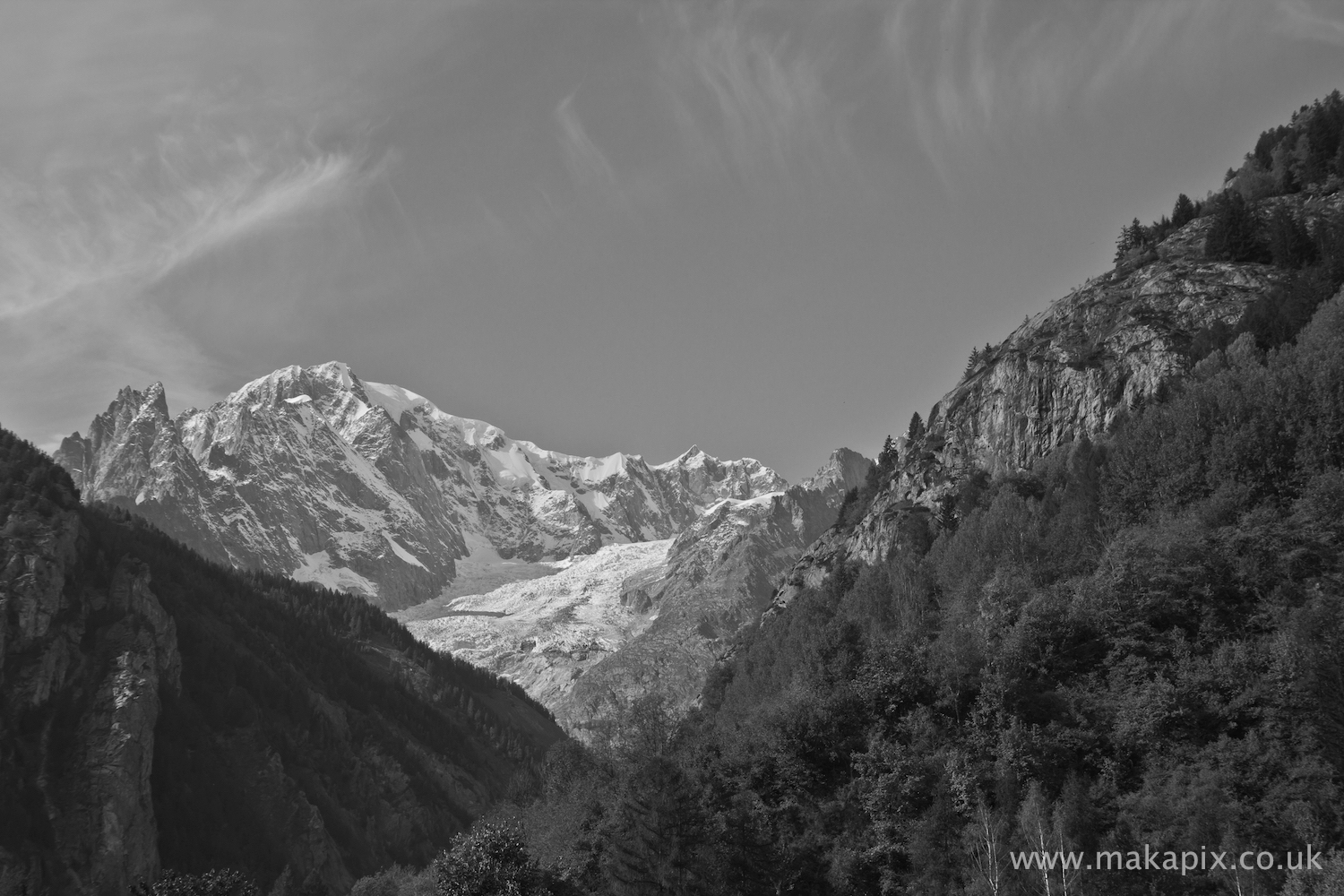 The Alps in b&w