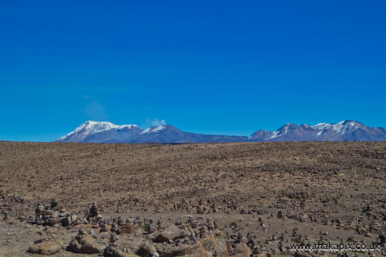 Volcanoes inn Arequipa region, Peru