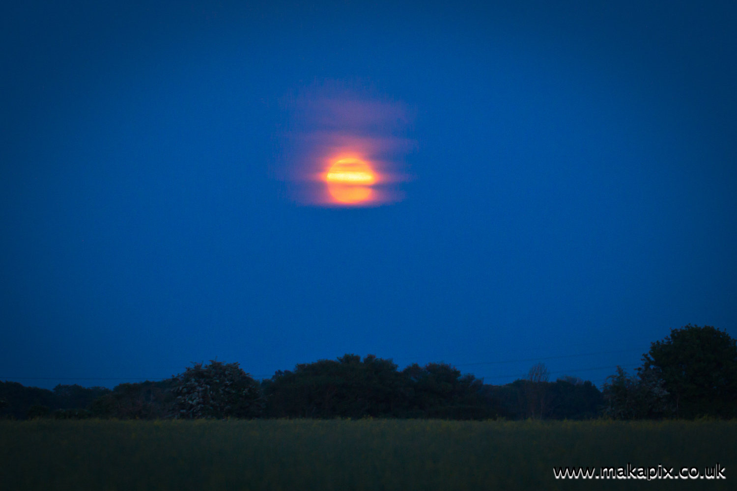 Moonrise in Upminster, Essex, England