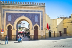 The Bab Bou Jeloud or the Blue Gate is an entrance to Fes el Bali, Morocco