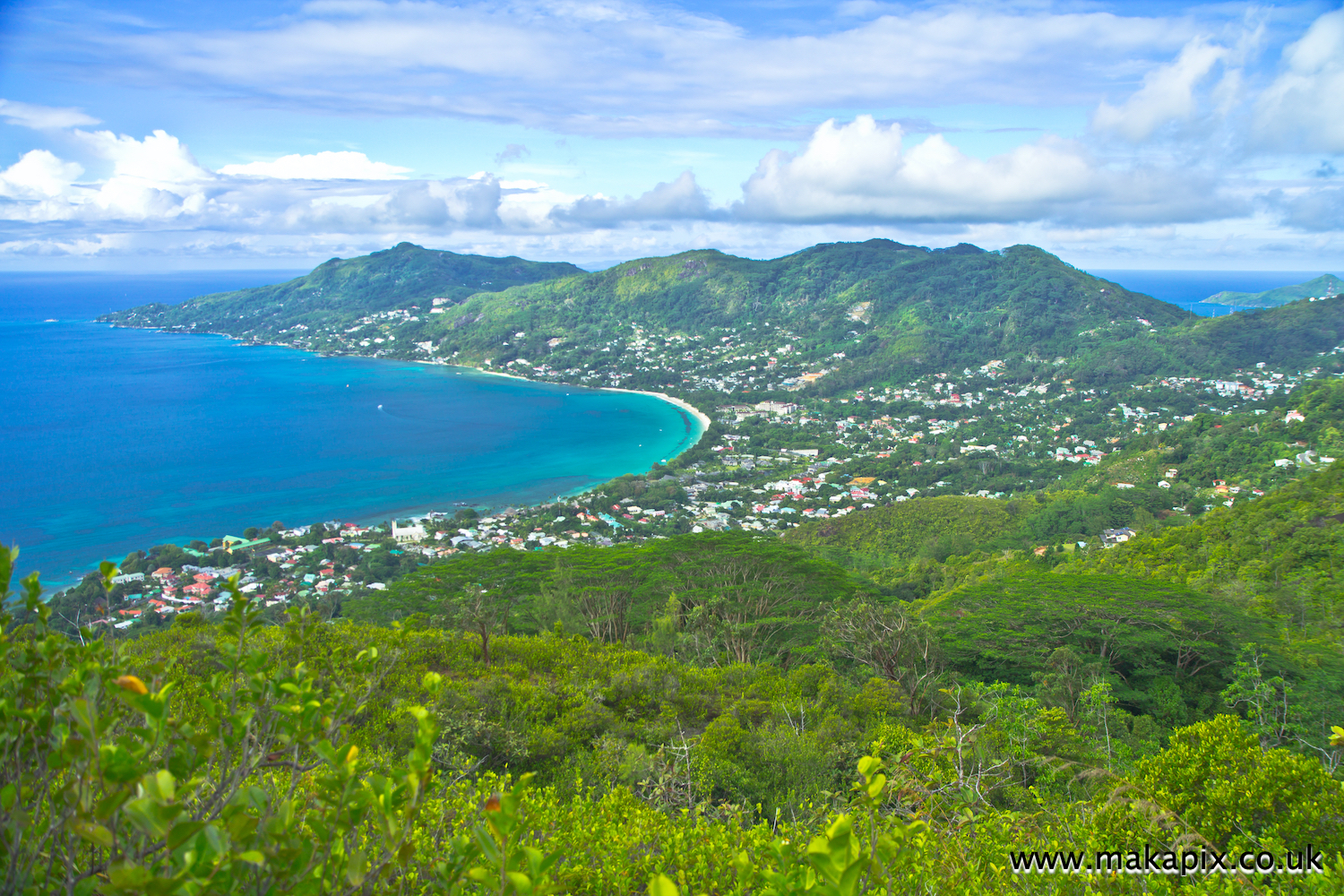 Panoramic view at the landscape on Mahe Island, Seychelles