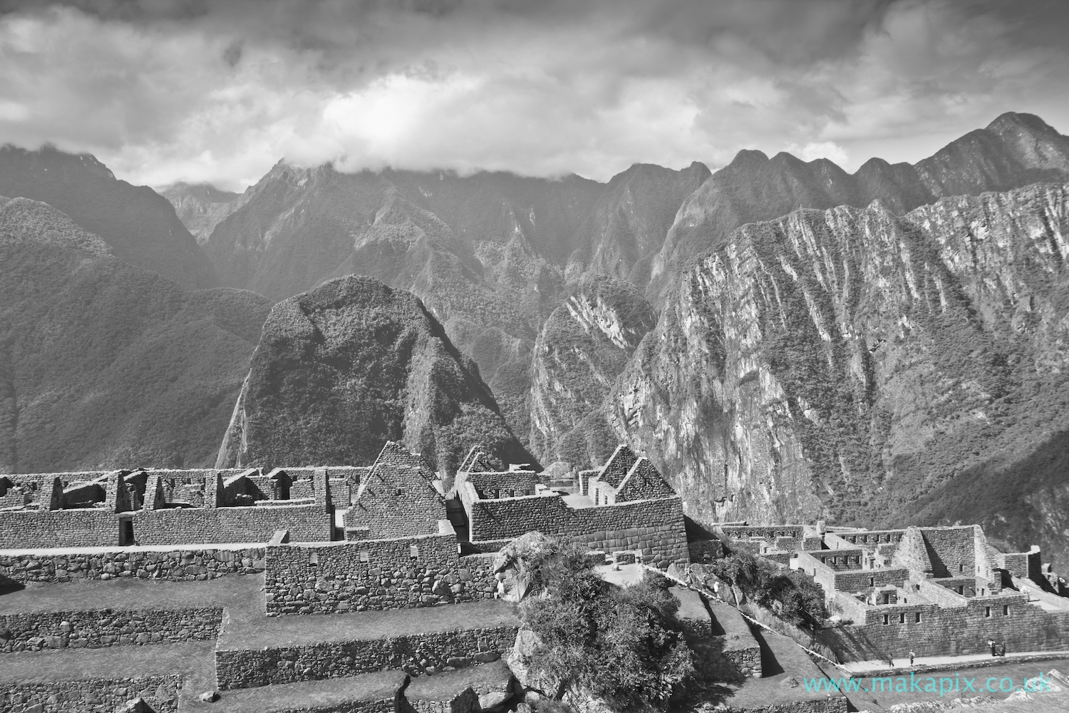Machu Picchu in black and white