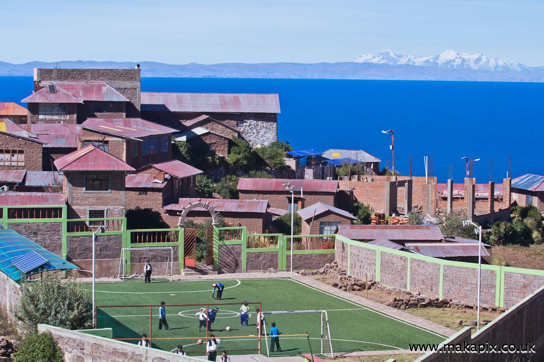 The football pitch on Taquile island, 4050 m. above sea level, Lake Titicaca, Peru