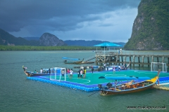 The floating football pitch on Koh Panyee island, Thailand