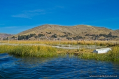 The floating football pitch on Uros islands, Lake Titicaca, Peru