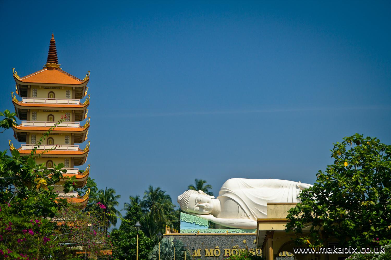 Vinh Trang Pagoda temple near Mỹ Tho in the Mekong Delta, Vietnam